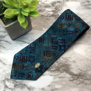 Men's vintage Christian Dior blue silk tie